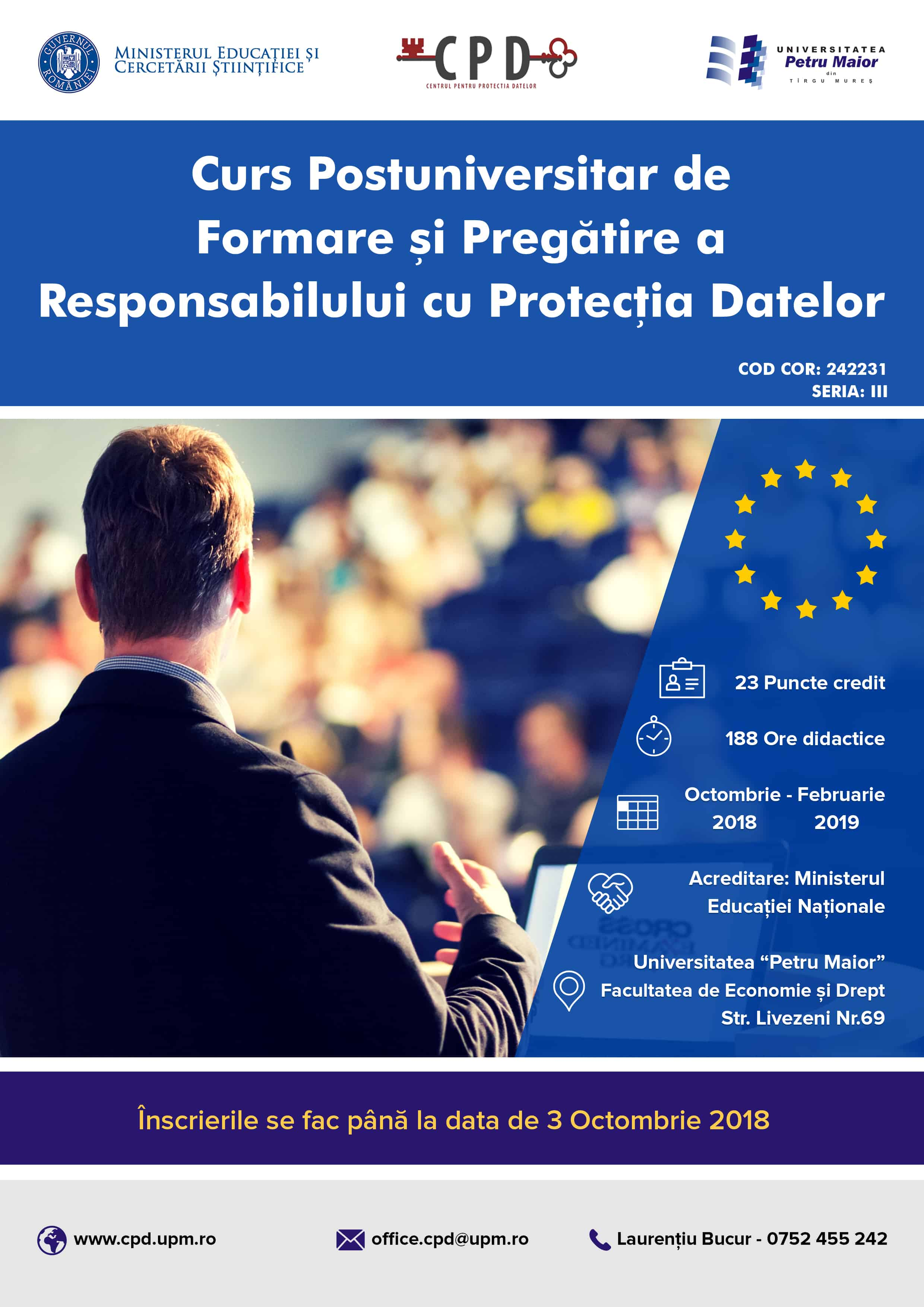 """Curs postuniversitar """"Formare si pregătire a Responsabilului cu Protecția Datelor"""""""
