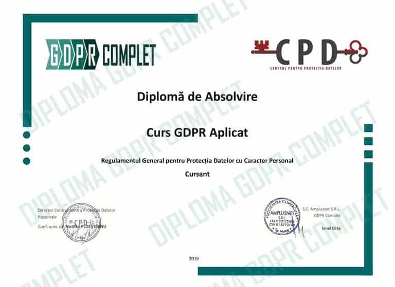 Model de diploma la absolvirea Cursului Practic GDPR online