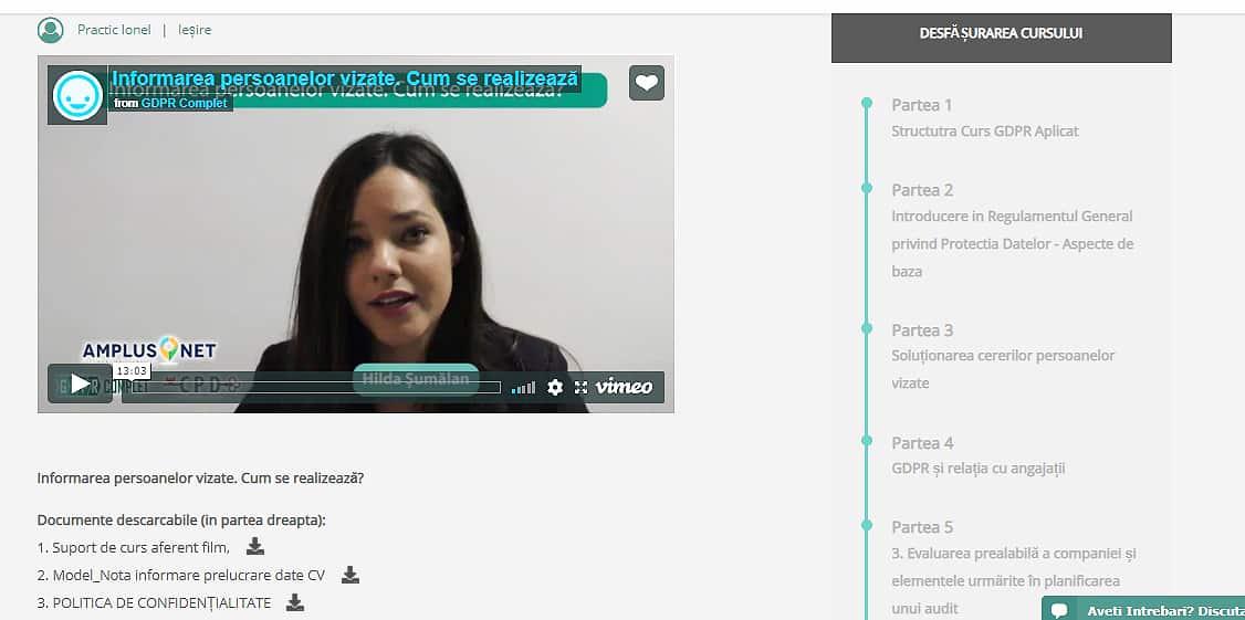 Captura de ecran din modulul de curs online GDPR APLICAT